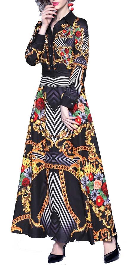 long sleeve chiffon maxi dress