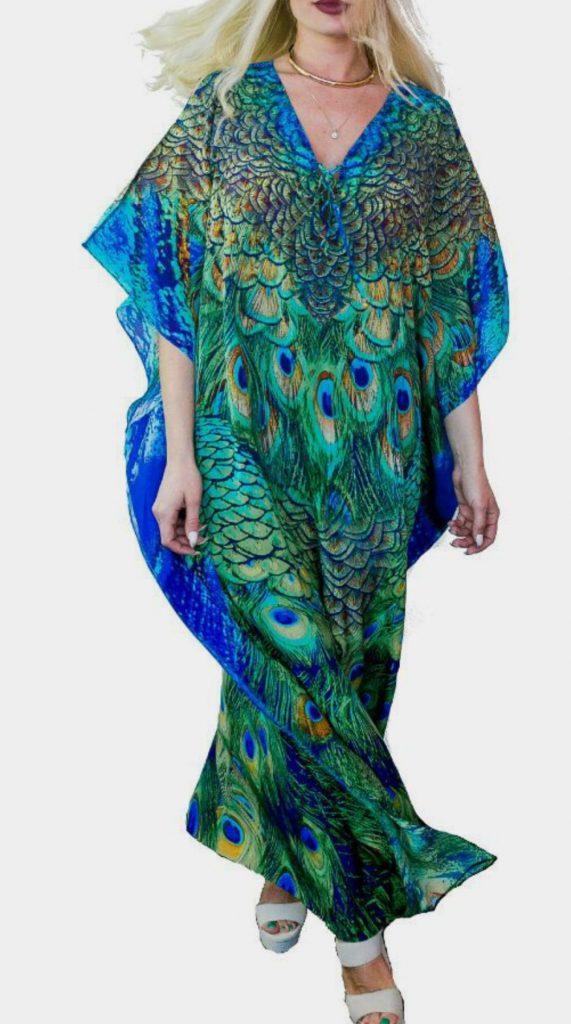 Designer Printed Chiffon Kaftan Dresses