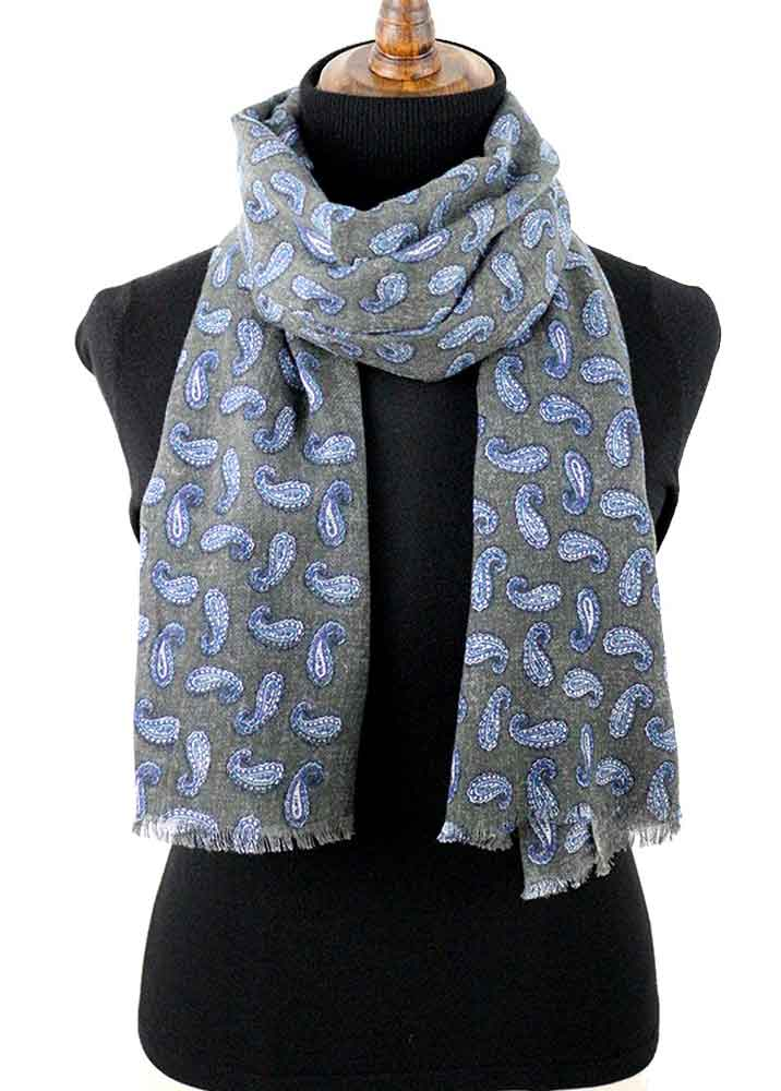 Bulk Winter Scarves and Silk Wool Paisley Print Shawls