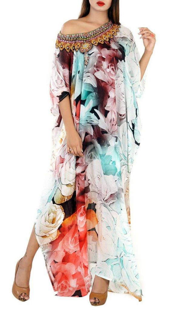 Silk Kaftan Dress Indian Caftan Body Coverups Light Weight Silk Bohemian Kaftan Dress