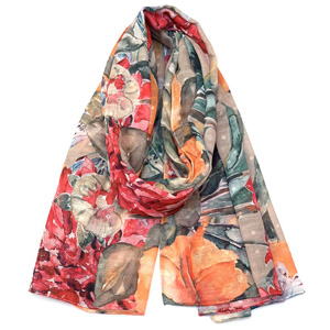 Lightweight Floral Printed Chiffon Cotton Scarves