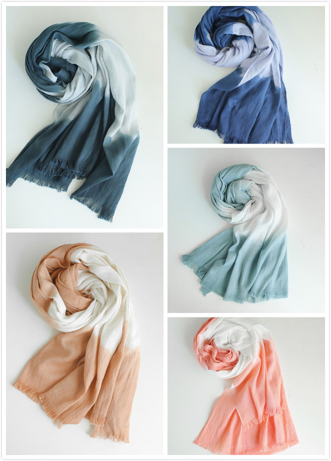 Shaded and Gradient Two Tone Hand dyed bamboo scarves