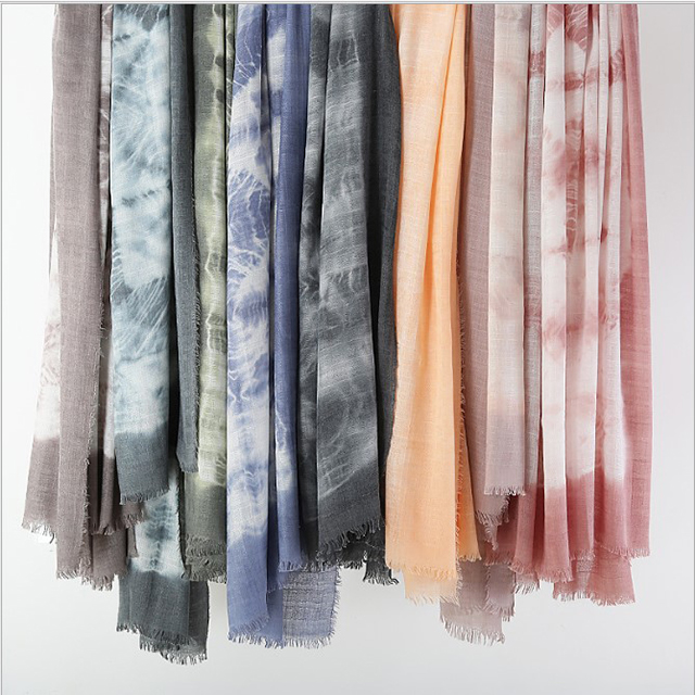Tie Dye Shawls and Scarves made of 100% Linen Fabric