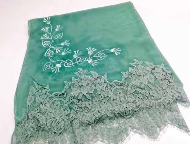 Women  Lace Scarves with  Embroidery Designs