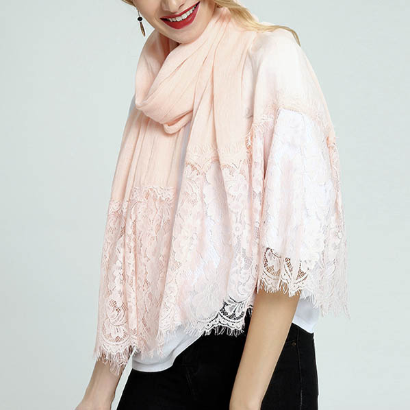 Pink embroidery lace scarf spring summer lace scarf